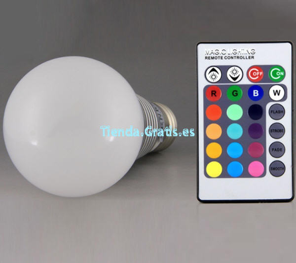 Bombillas leds colores con mando a distancia