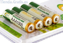 Rechargeable 1000mAh AAA batteries