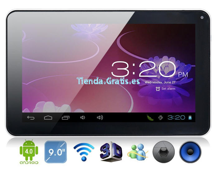 "Tablet 9"" Hard Drive 8GB, cam, Android 4"