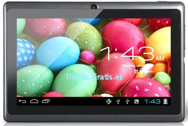 "Tablet doble cámara, 7"", pantalla multi-capacitiva, disco 4 GB"